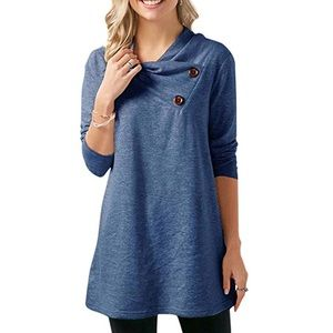 Tops - Cowl Neck Tunic Top With Buttons